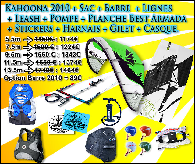 pack kitesurf complet best kahoona 2010 kiteshop. Black Bedroom Furniture Sets. Home Design Ideas