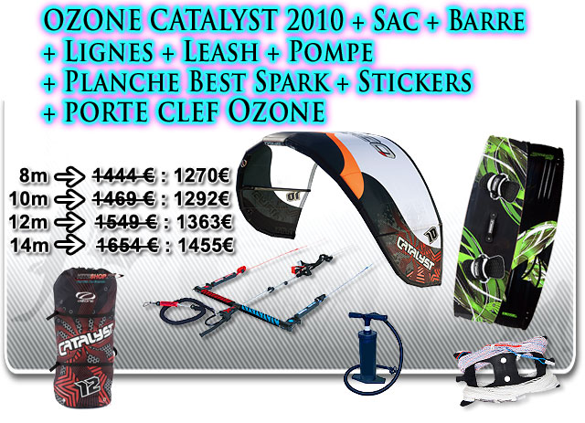 pack kitesurf ozone catalyst best spark 2010 kiteshop. Black Bedroom Furniture Sets. Home Design Ideas