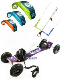 Pack mountainboard KHEO KICKER + Aile FLYSURFER PEAK 4 + barre kite attitude universelle